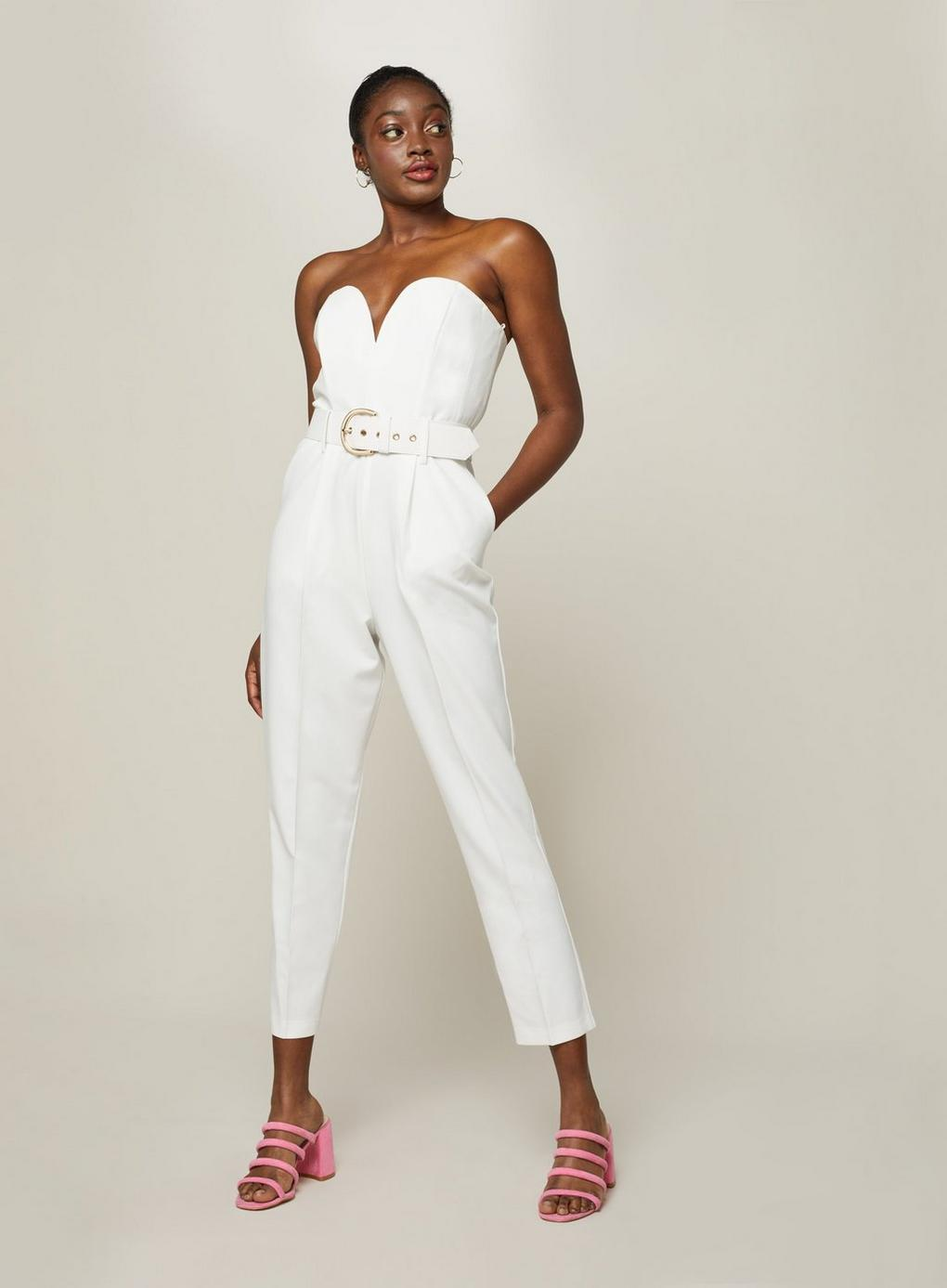 7ca48cb673f Lyst - Miss Selfridge Bandeau Belted Jumpsuit in White