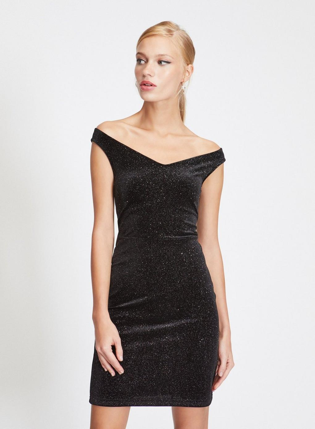 f3ee49352e Lyst - Miss Selfridge Black Glitter Bardot Dress in Black