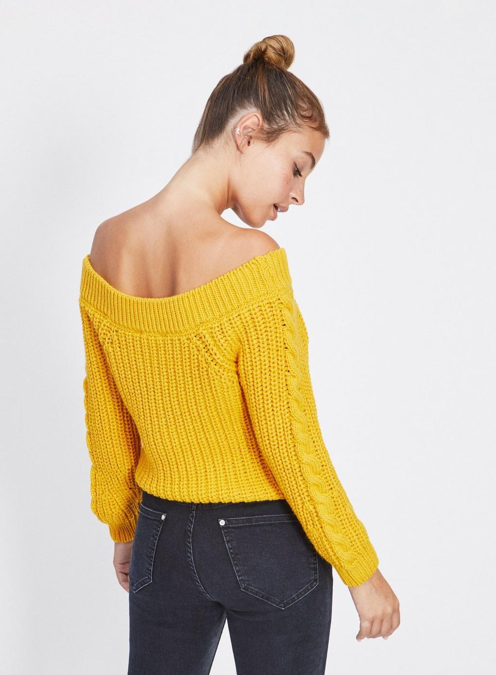 01cebe5c8945 Miss Selfridge - Petite Yellow Cable Bardot Knitted Jumper - Lyst. View  fullscreen