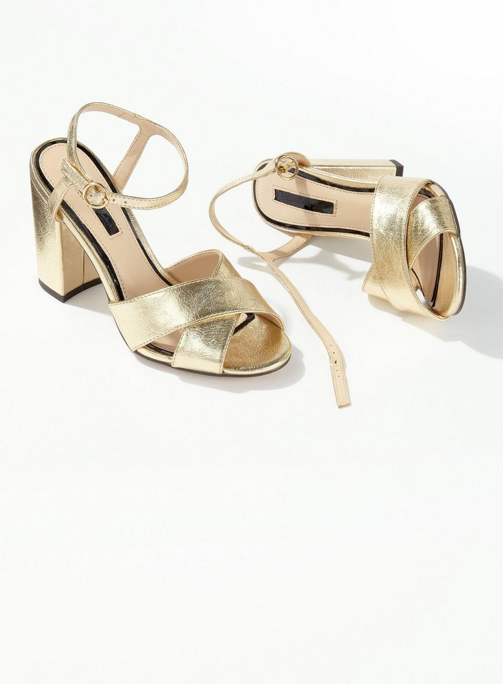 6757b094c7ef Miss Selfridge - Metallic Gold Hadara Cross Over Heeled Sandals - Lyst.  View fullscreen