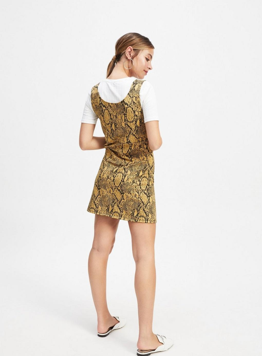 1132bf99fd Miss Selfridge - Black Petite Multi Colour Animal Print Jacquard Pinafore  Dress - Lyst. View fullscreen