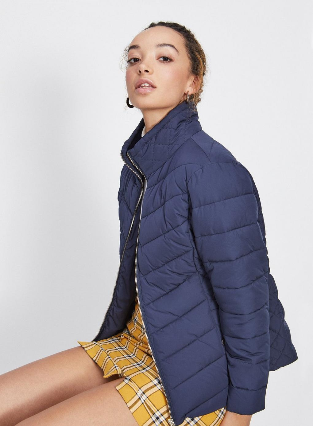 227a49debc5 Lyst - Miss Selfridge Petite Navy Puffer Coat in Blue