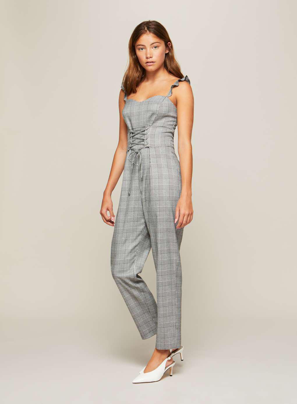 bd5a915c95 Lyst - Miss Selfridge Check Corset Jumpsuit in Gray