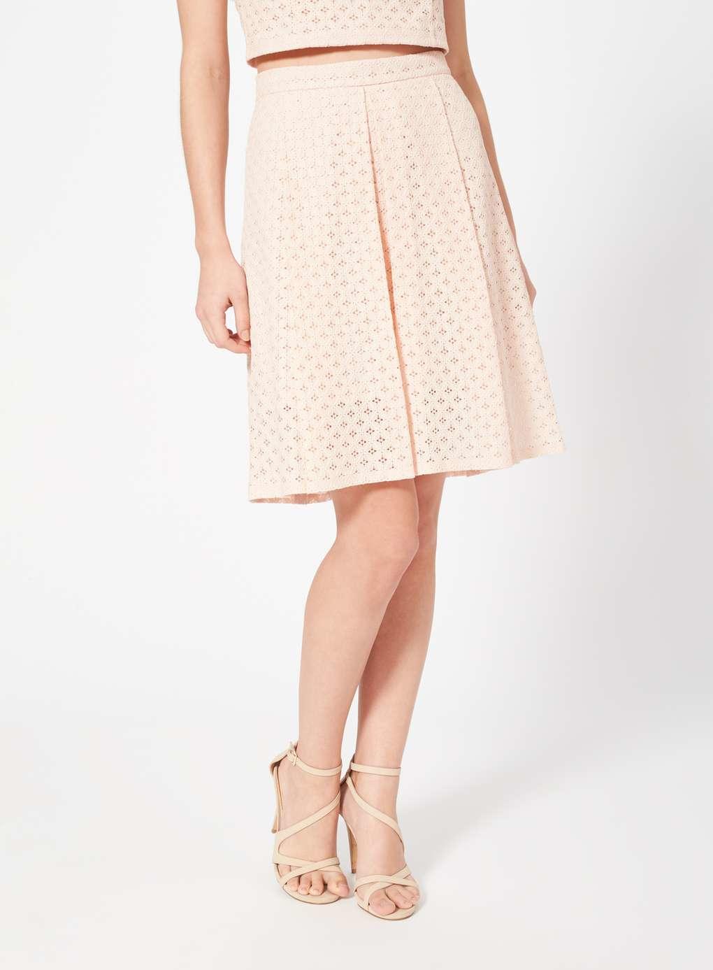 miss selfridge blush lace midi skirt in blue lyst