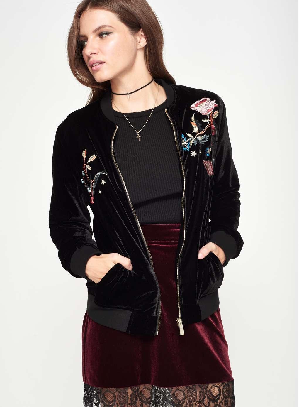 Lyst - Miss Selfridge Black Embroidered Velvet Bomber Jacket In Black