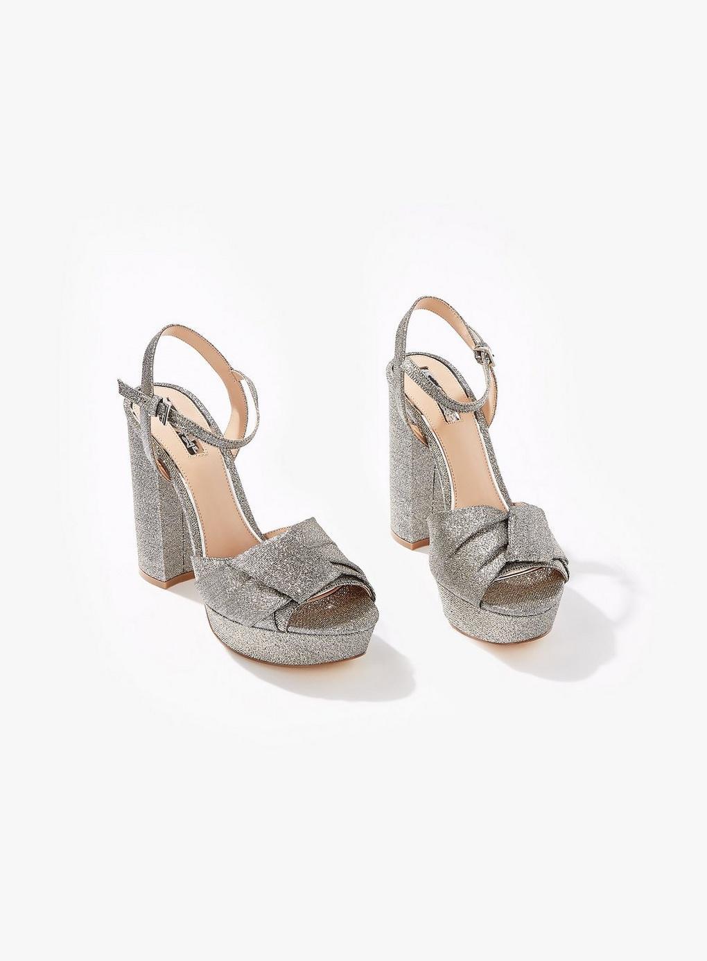 511408ec311 Miss Selfridge Silver Crystal Platform Sandals in Metallic - Lyst