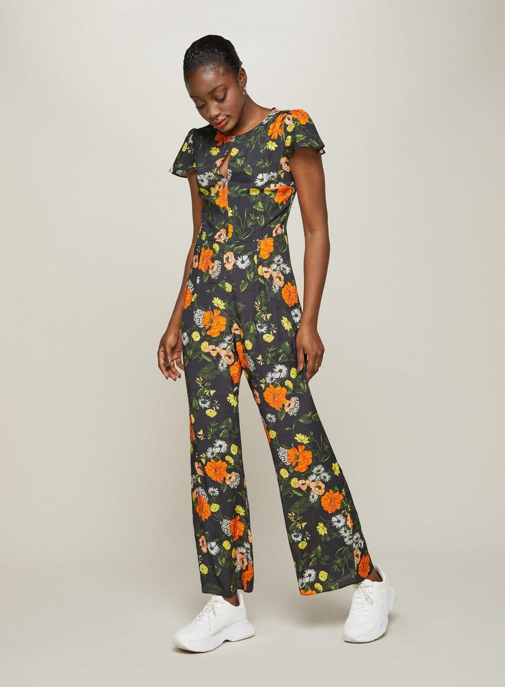 f052286c207 Miss Selfridge Floral Cape Jumpsuit in Black - Lyst