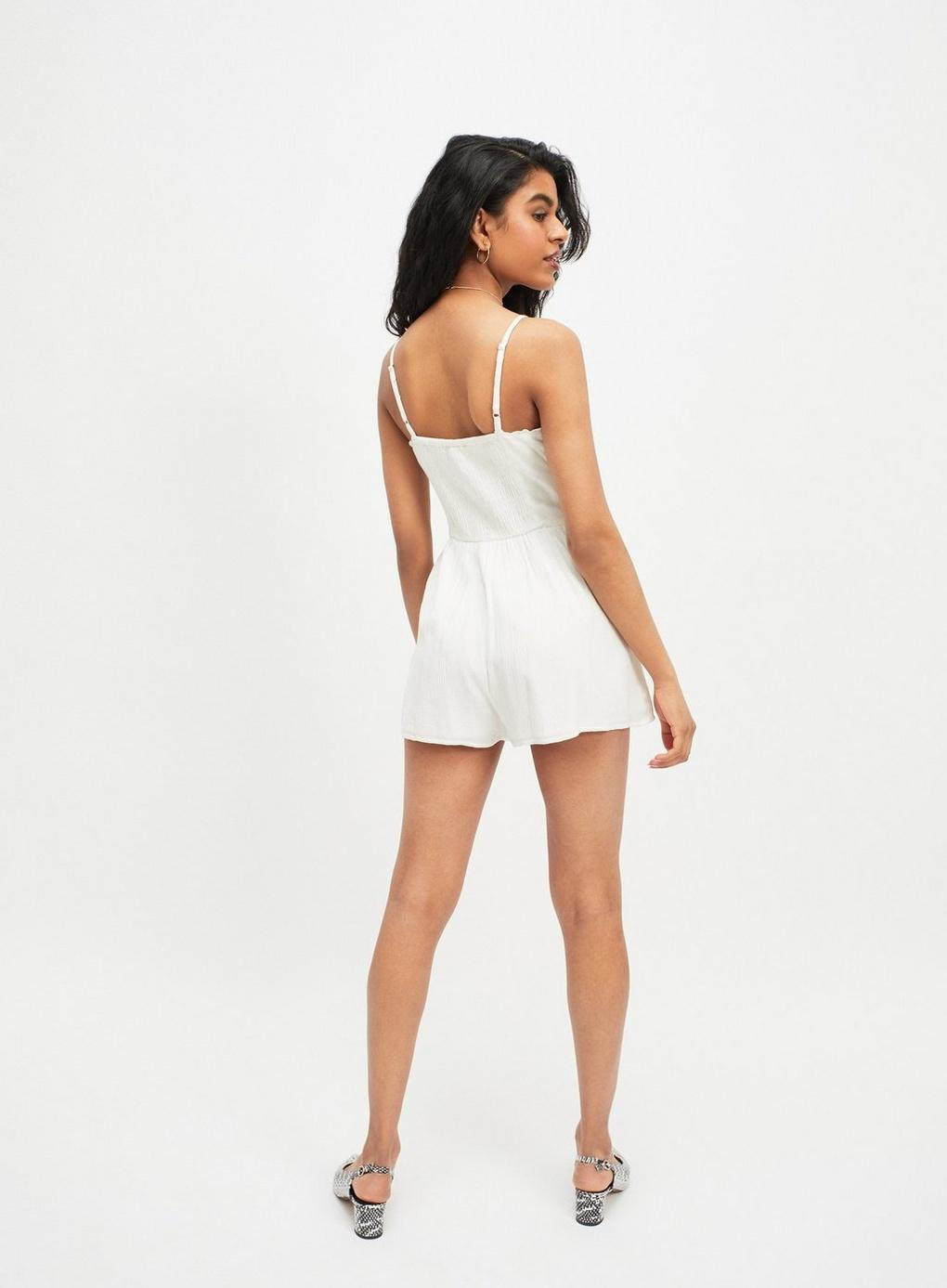 0e59e147979 Miss Selfridge - White Petite Ivory Embellished Playsuit - Lyst. View  fullscreen