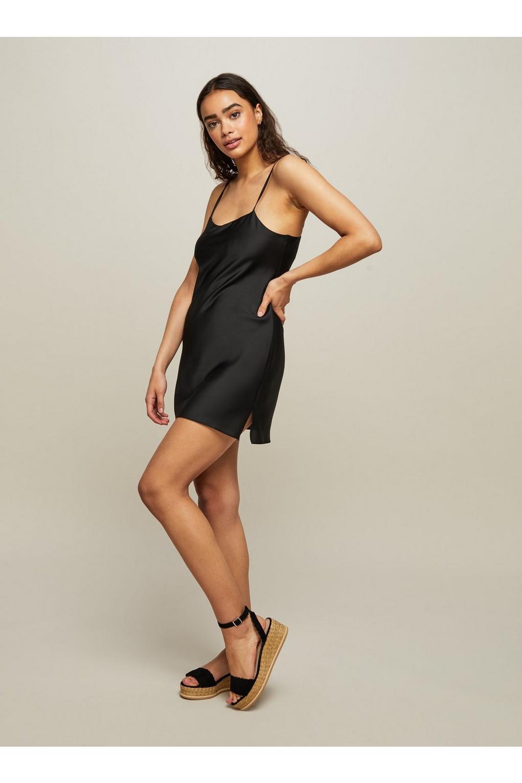 124ec06de39 Miss Selfridge Black Satin Bubble Mini Slip Dress in Black - Lyst