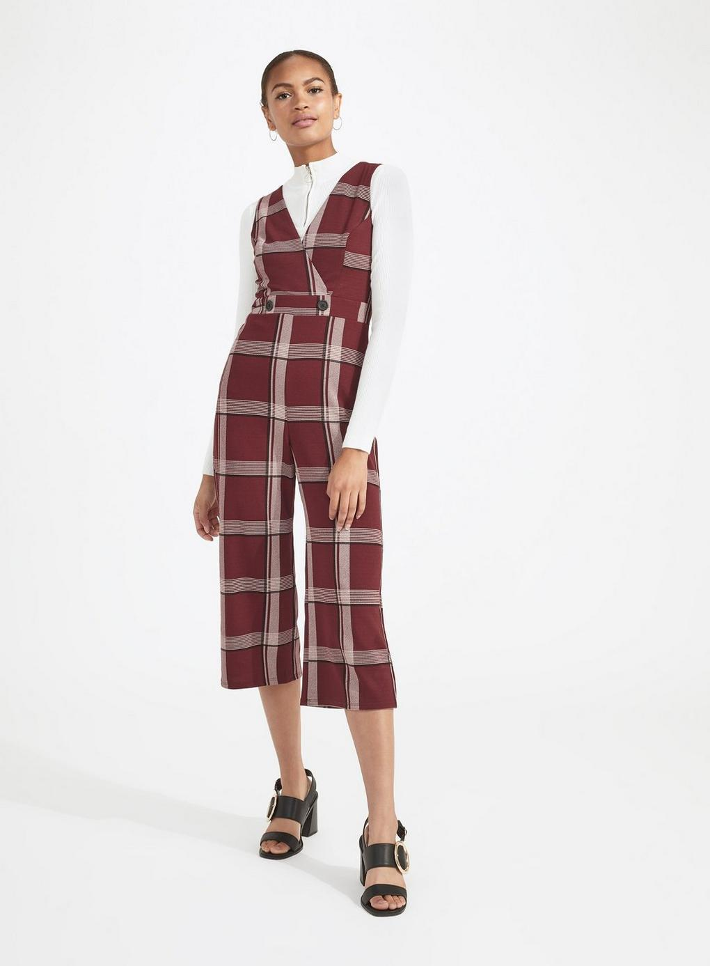 2f6fc6f92dd Miss Selfridge Burgundy Checked Jumpsuit in Red - Lyst