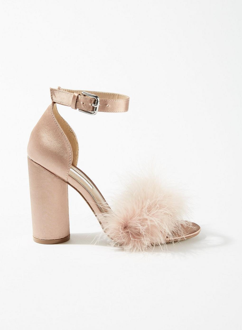 46237f41c2c24 Miss Selfridge Hennie Feather Block Heel Sandals in Natural - Lyst