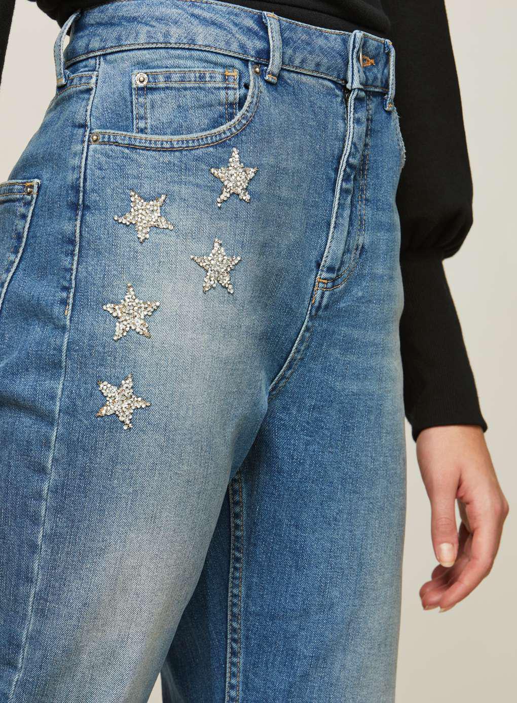 538df969561c0a Lyst - Miss Selfridge Silver Star Mom Jean in Blue