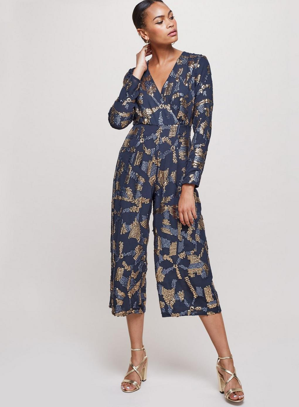 ceb13a7ddec Miss Selfridge Sequin Culottes Jumpsuit in Blue - Save 20% - Lyst