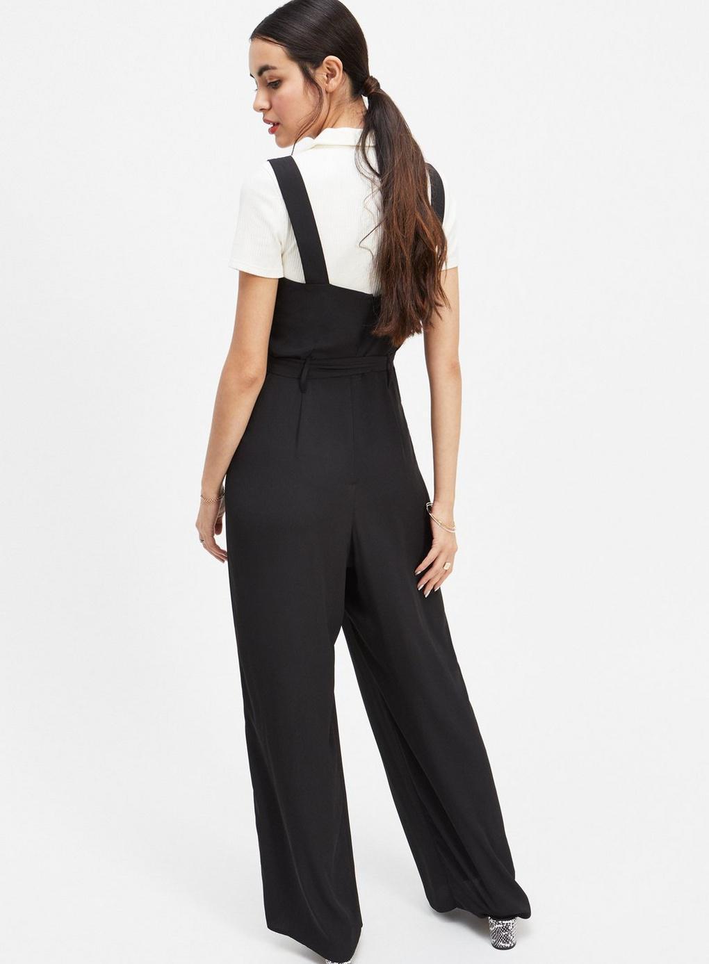 9741e818edf Miss Selfridge - Black Button Through Pinafore Jumpsuit - Lyst. View  fullscreen