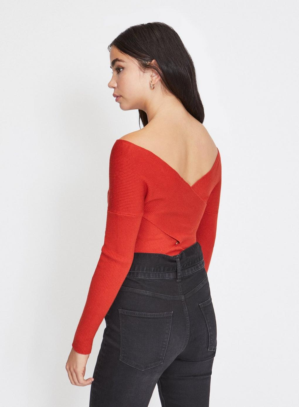 1cd032d132de Miss Selfridge - Red Petite Rust Fine Gauge Bardot Knitted Jumper - Lyst.  View fullscreen