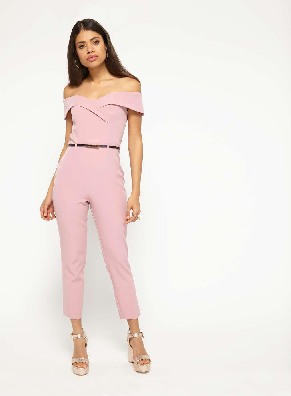 19237977b4 Miss Selfridge Dusty Pink Bardot Belt Jumpsuit in Pink - Lyst