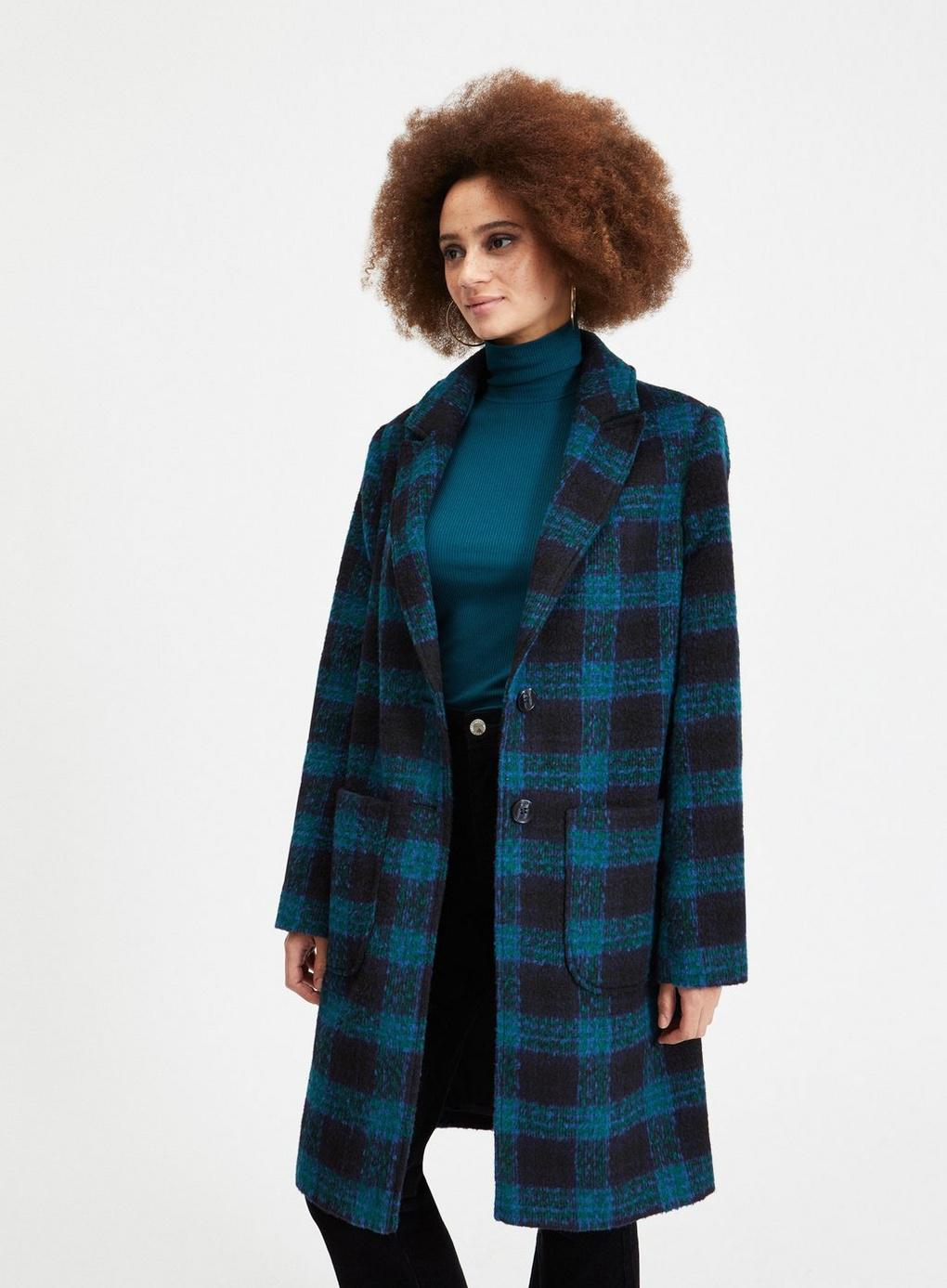 b6f68967c69 Lyst - Miss Selfridge Green Check Pocket Coat in Green