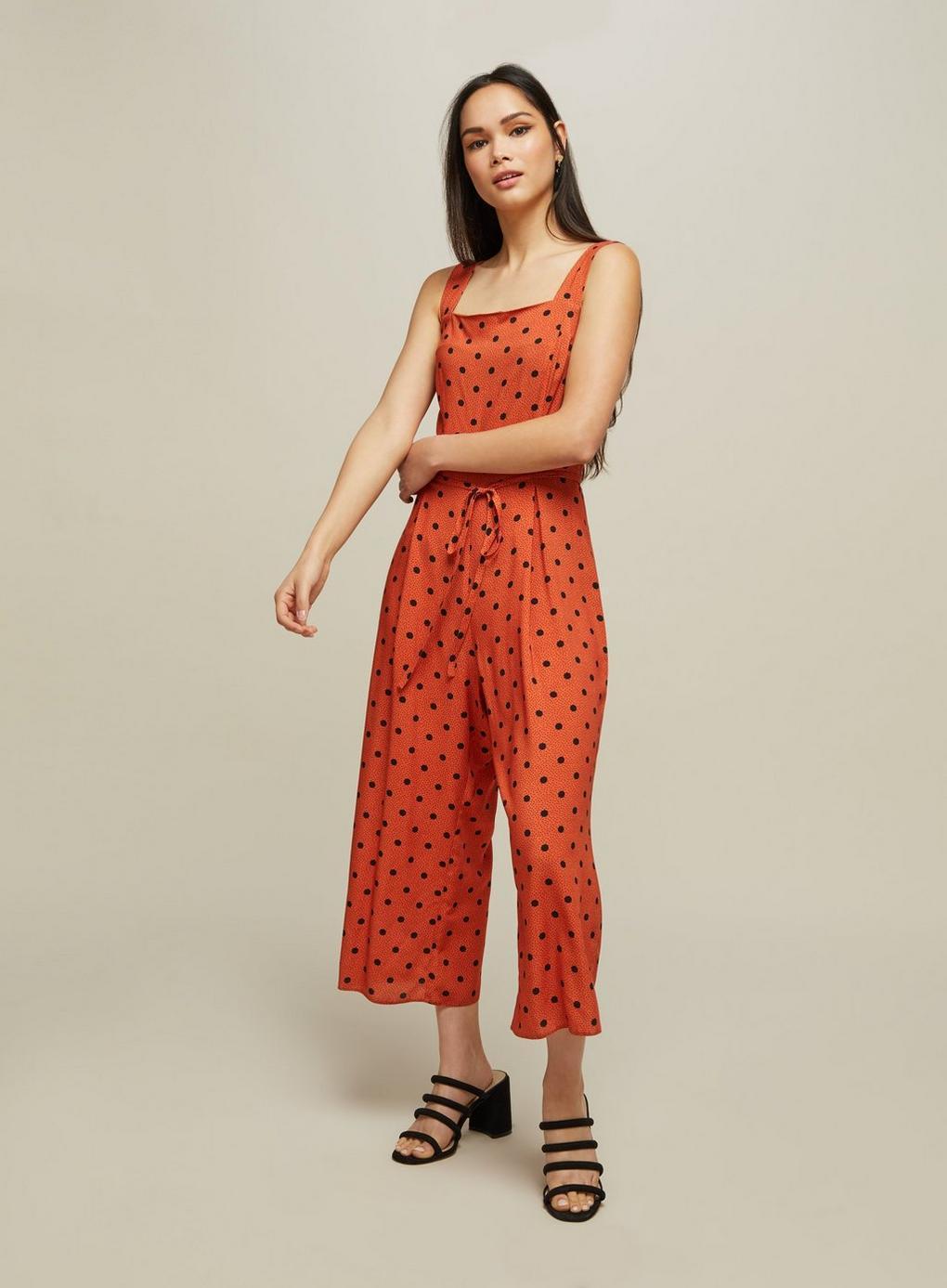eaea5b11d7d Lyst - Miss Selfridge Rust Spot Print Pinafore Jumpsuit in Red