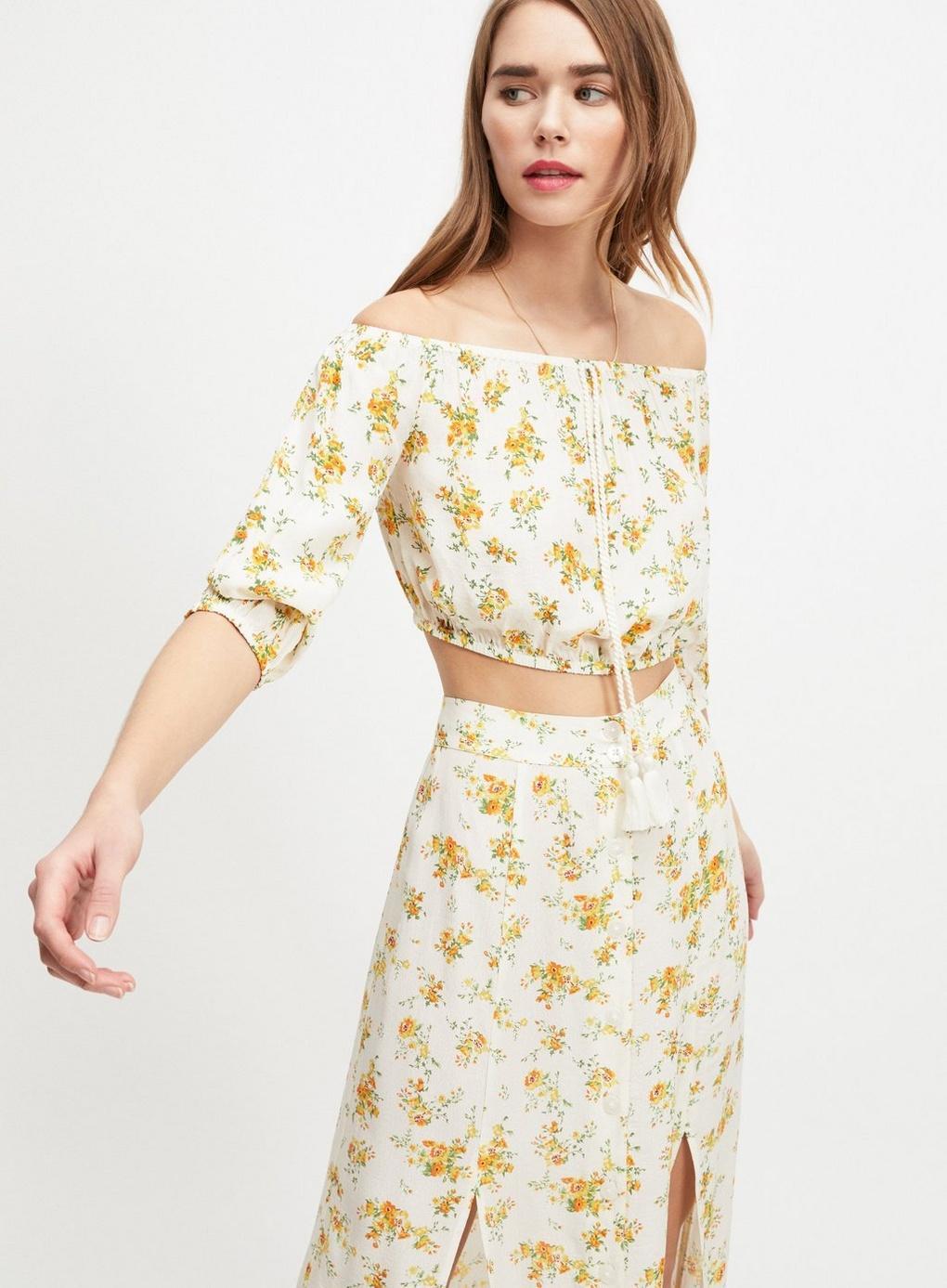 0fb5e31380e Lyst - Miss Selfridge Ivory Floral Print Bardot Top in White