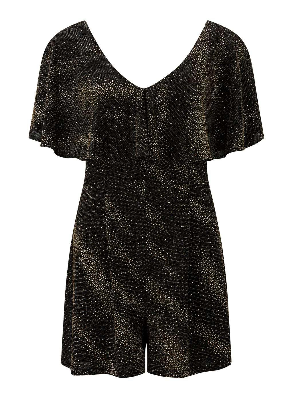 8b1aa8ddad Lyst - Miss Selfridge Gold Glitter Cape Playsuit