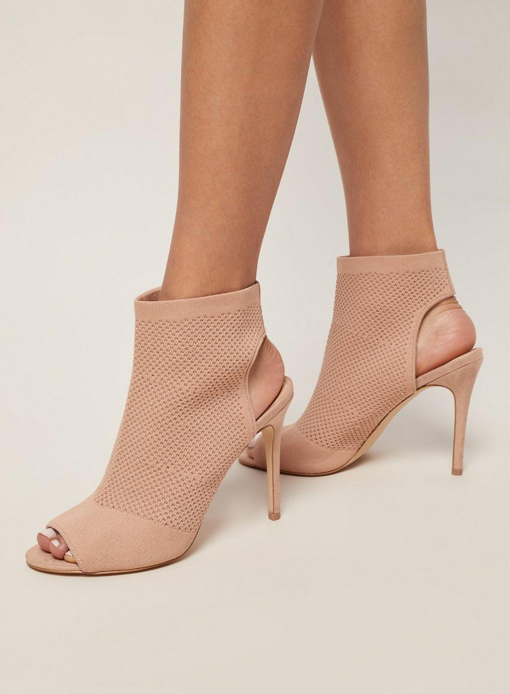 96cc8d50f32f Miss Selfridge - Pink Nude Candy Knitted Peep Toe Heel Sandals - Lyst. View  fullscreen
