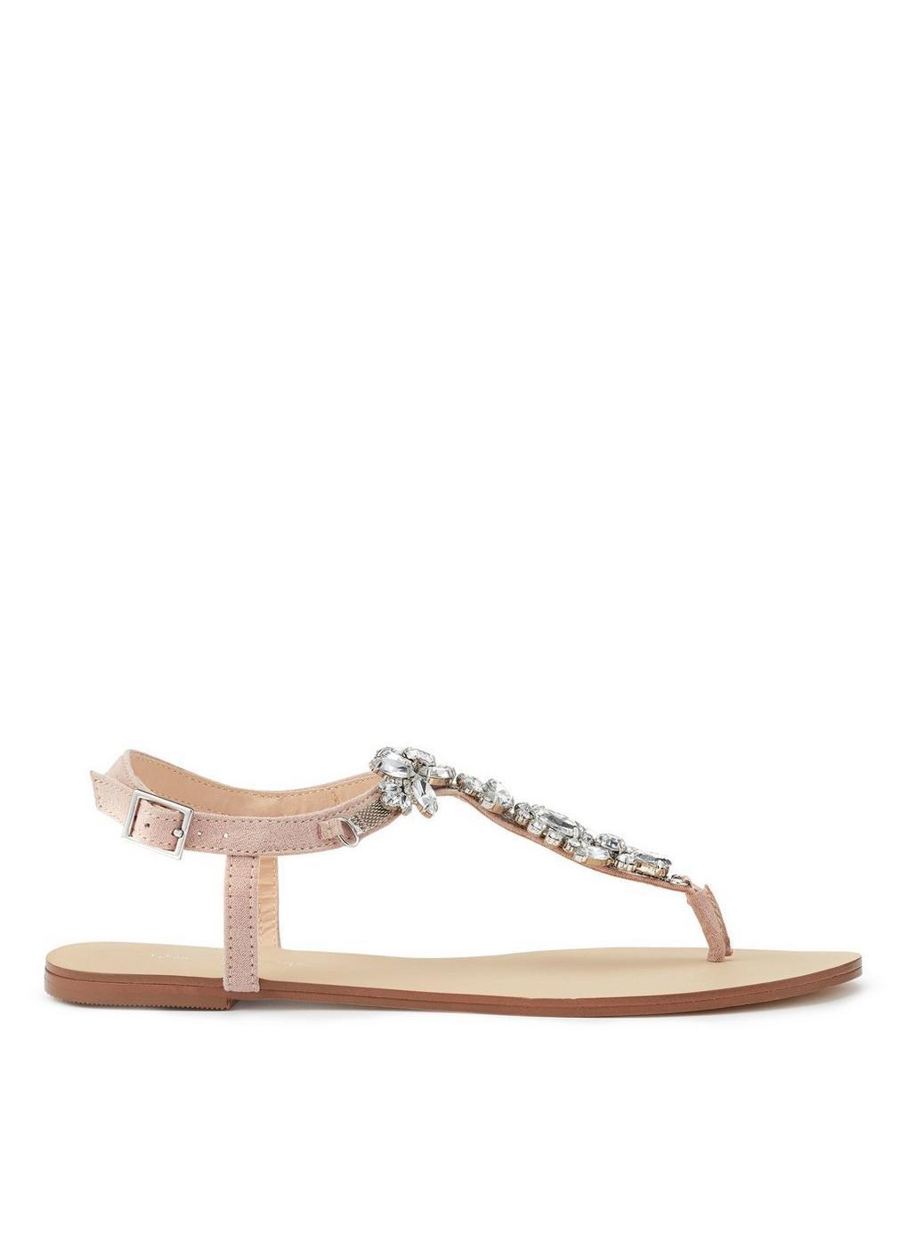 bf8ec60fbf736 Jewelled Flat Sandals - Lyst. View fullscreen most popular 8462f 87482   Fitflop Shimmy Suede Toe-post ...