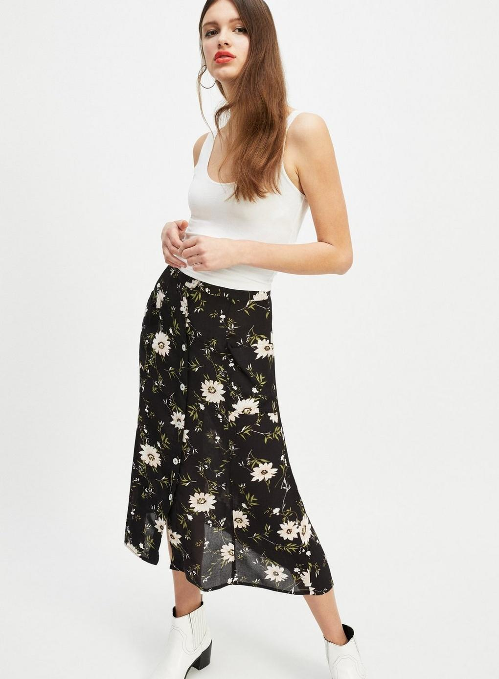 Miss Selfridge Green Ditsy Print Pocket Midi Skirt in Green - Lyst 48ba18ffc
