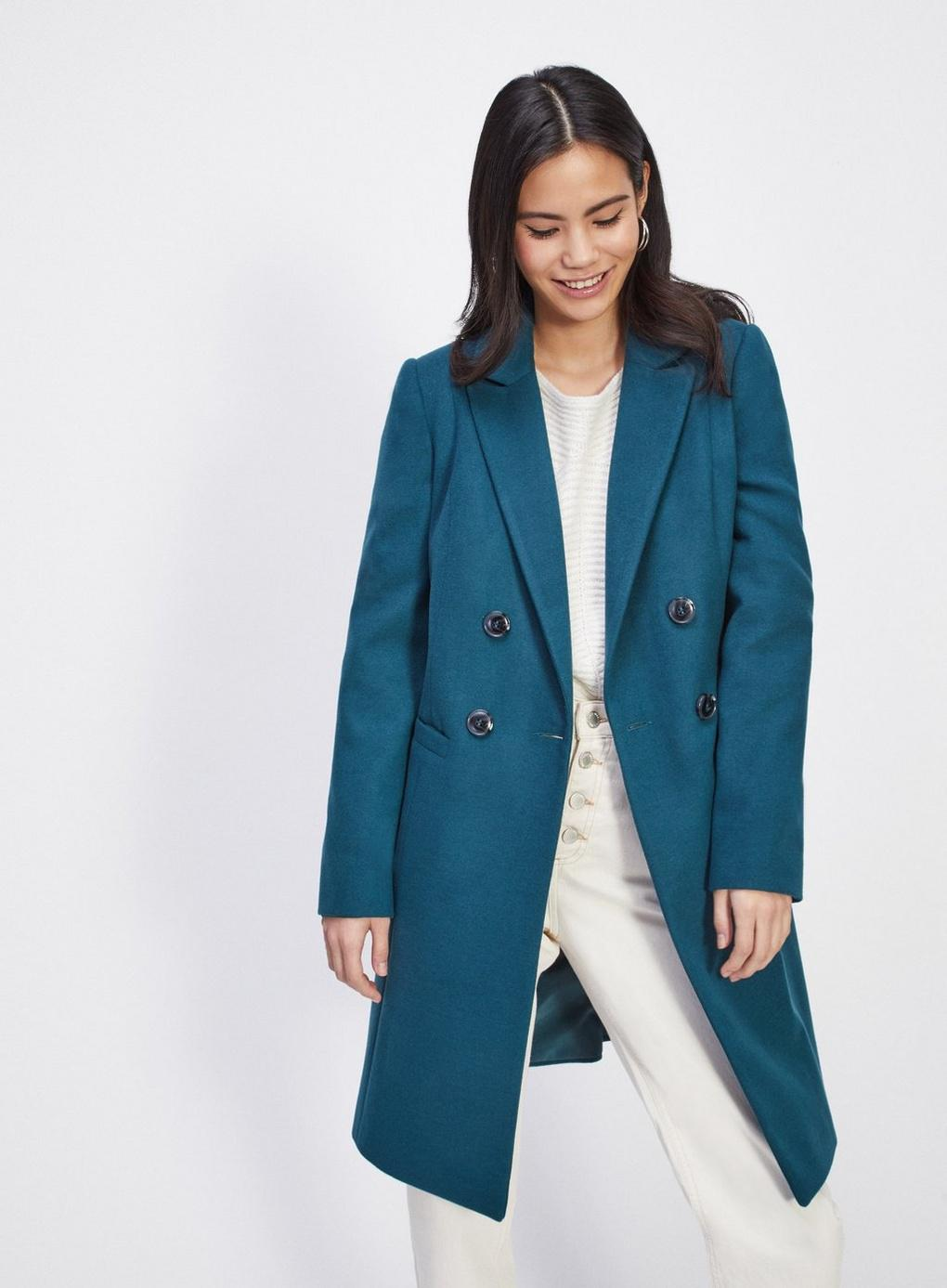 1f8cb3578f5 Miss Selfridge Teal Crombie Coat in Blue - Lyst