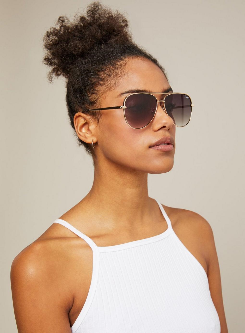 b55a126d14 Miss Selfridge. Women s Metallic Quay Australia Sahara Matte Gold taupe Aviator  Sunglasses
