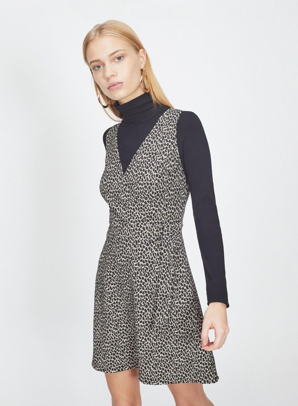082c90d604 Miss Selfridge. Women s Brown Animal Print Jacquard D-ring Pinafore Dress