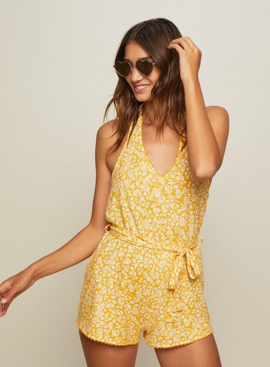4b316ce2c476 Miss Selfridge Ochre Halter Neck Playsuit in Yellow - Lyst