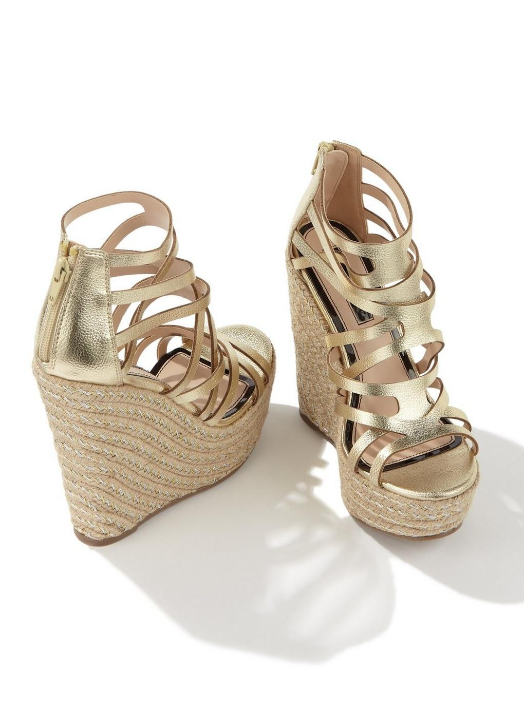 82b381a38668 Miss Selfridge - Metallic Winona Gold Platform Wedge Sandals - Lyst. View  fullscreen