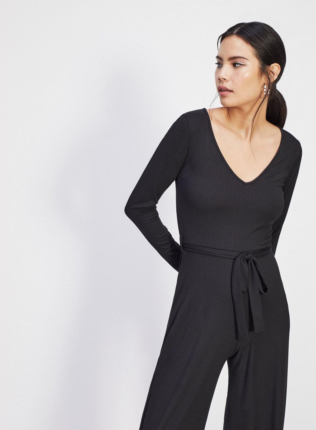 1e47d6f2986 Miss Selfridge Black Long Sleeved Ribbed Jumpsuit in Black - Lyst