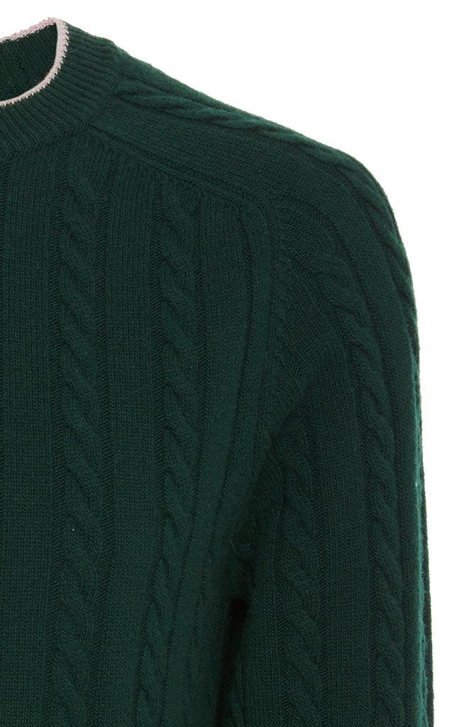 786d6a1a3d Lanvin - Green Striped Wool And Cashmere-blend Cable-knit Sweater for Men  -. View fullscreen