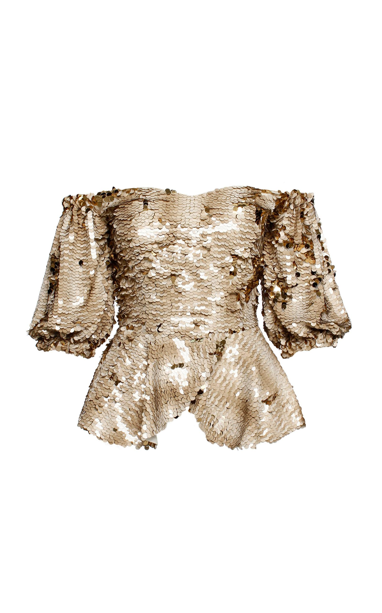 a4a3a9bd8d8cc ANOUKI Sparkly Off-shoulder Top in Metallic - Lyst