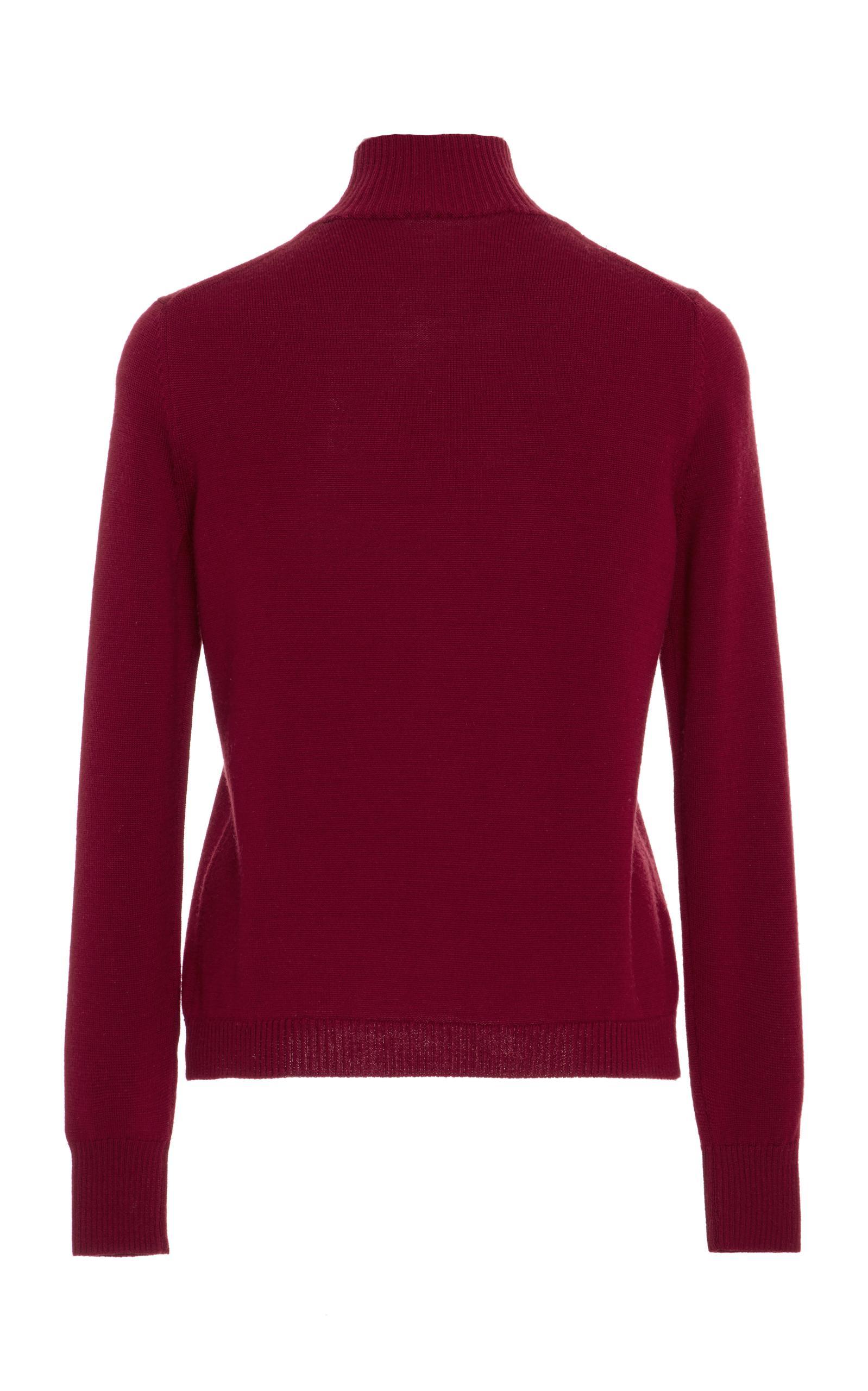 Delpozo Embellished Merino Wool Sweater in Red | Lyst