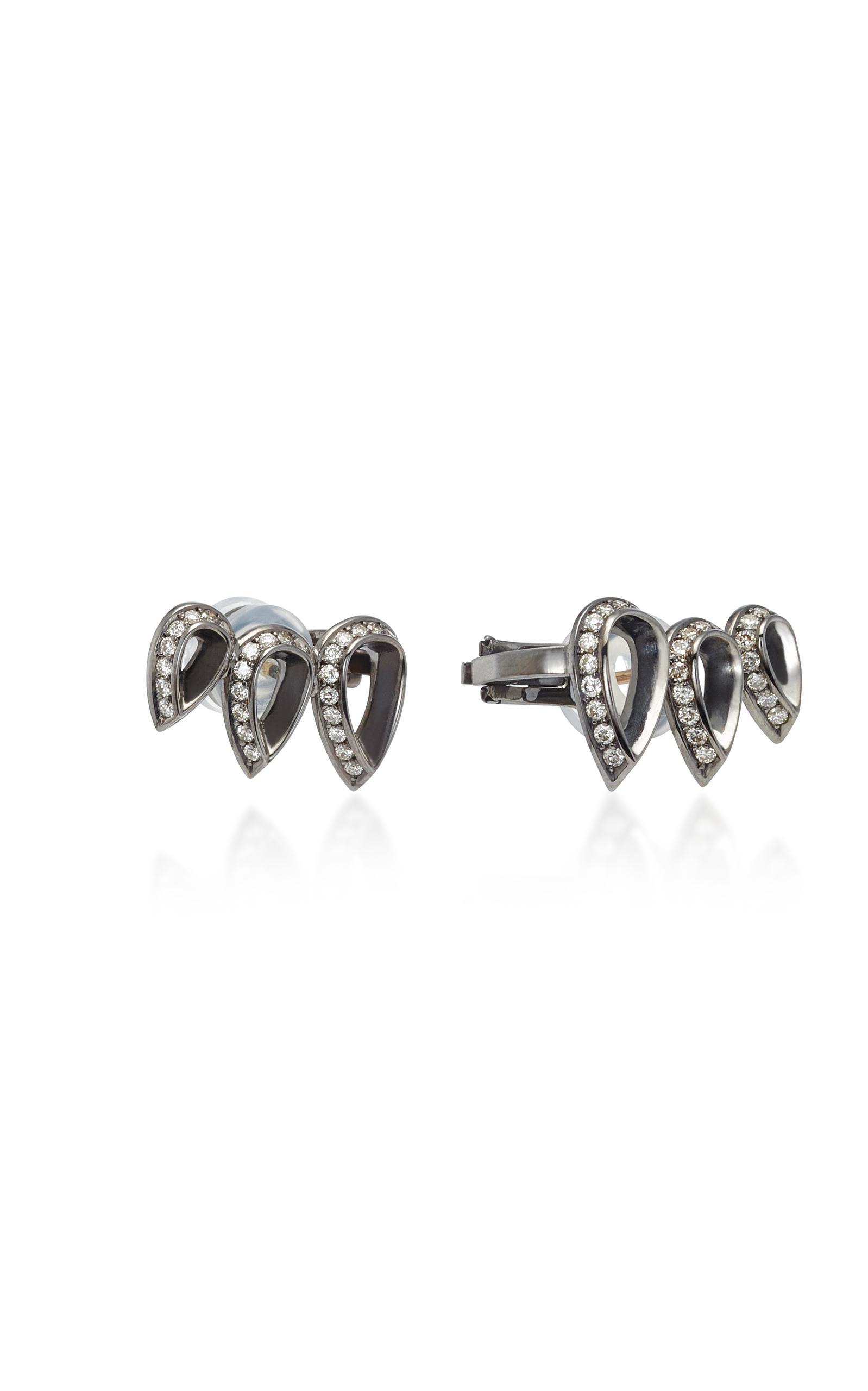 Pic Rhodium Plaqué Or Blanc 18 Carats Et Boucles D'oreilles Diamant Jack Vartanian Comète NjcbF