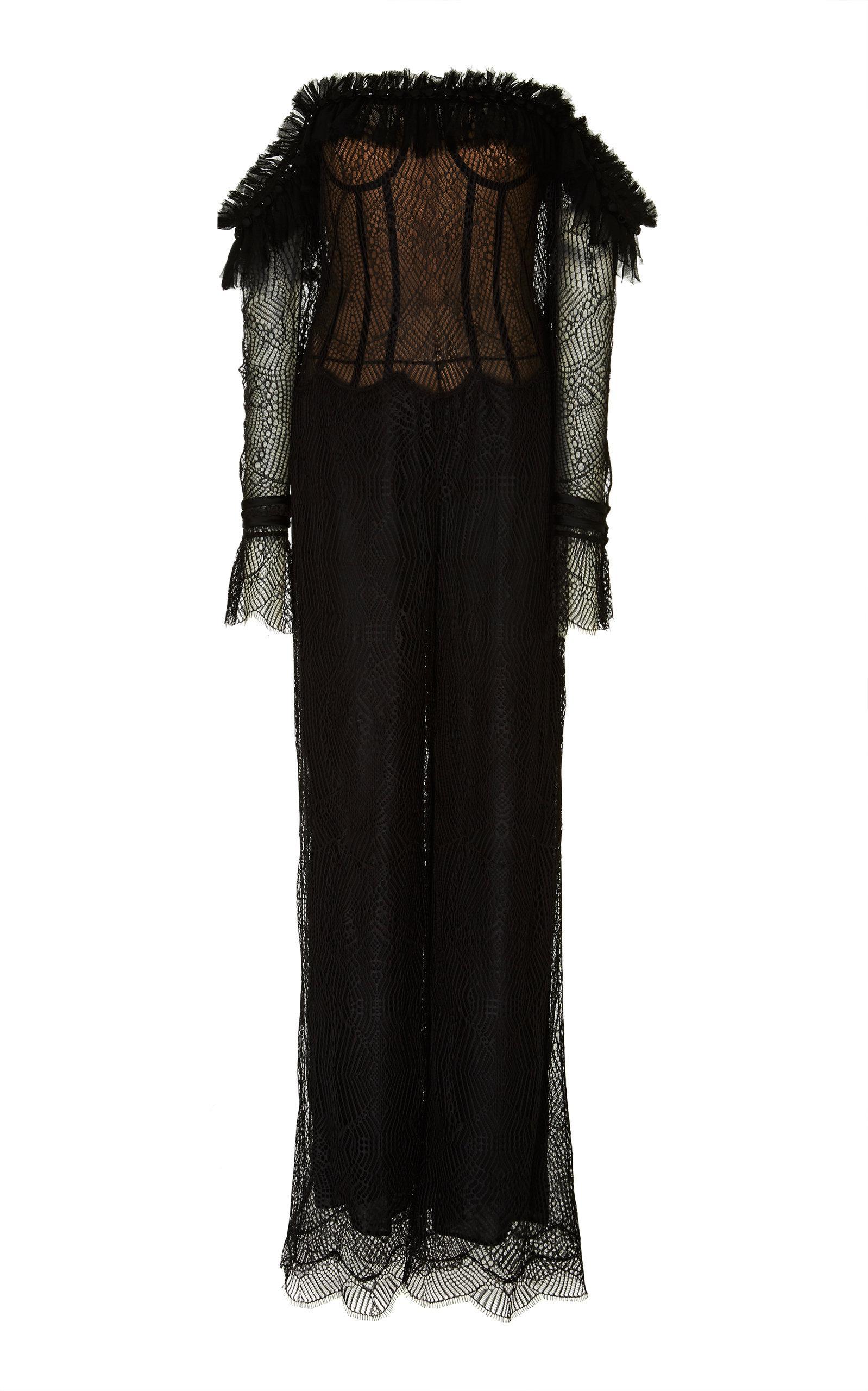 178b7f235925 Lyst - Jonathan Simkhai Chiffon Lace Bustier Jumpsuit in Black