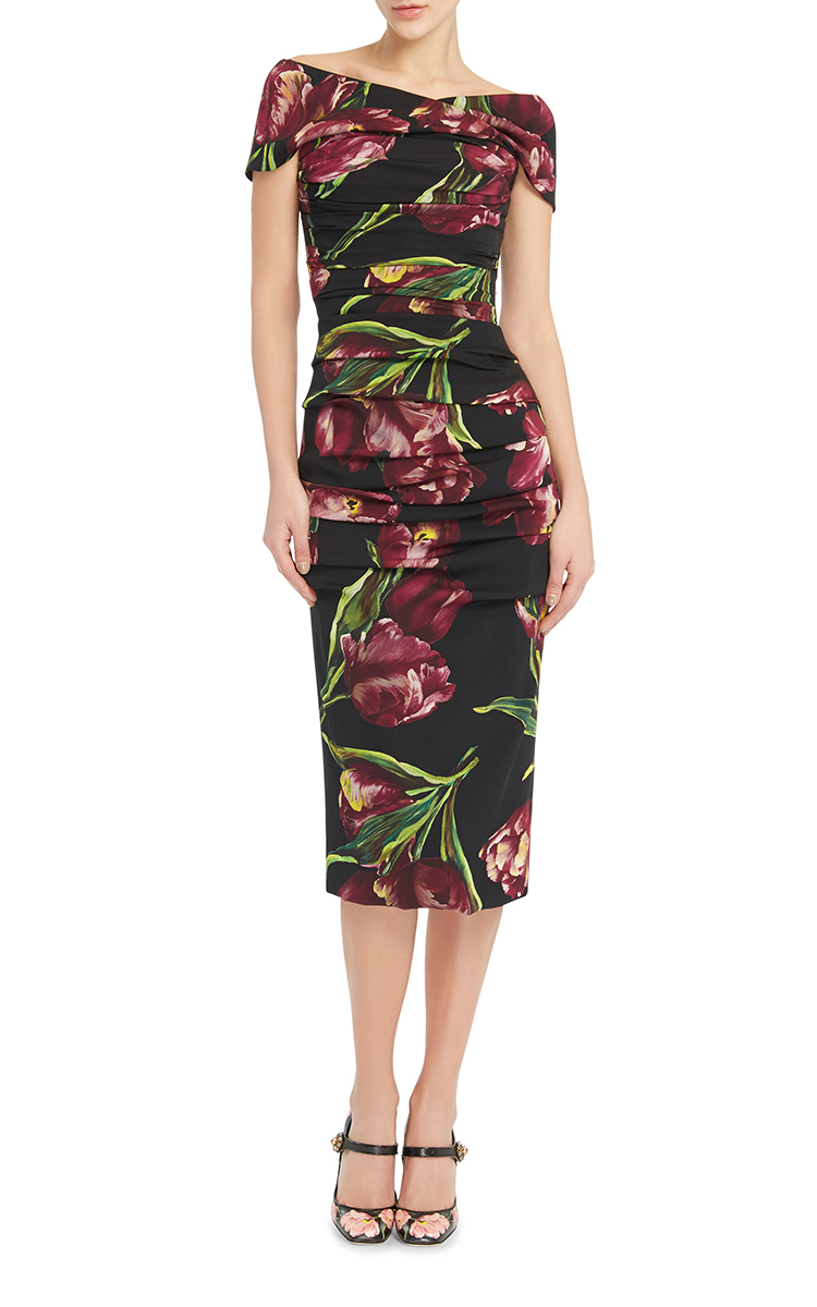 ee56b0ed1d93b Dolce  amp  gabbana Floral Printed Bodycon Dress in Black