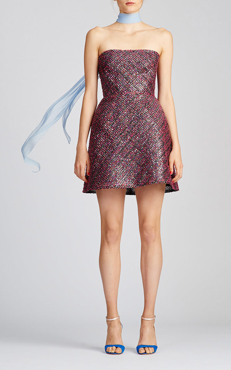 Monique lhuillier Strapless Mini Dress in Pink | Lyst