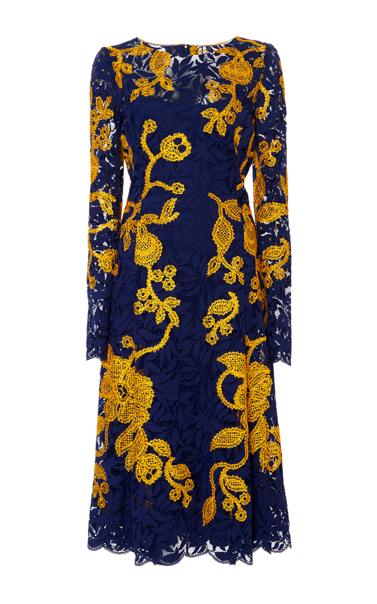 Oscar De La Renta Navy And Yellow Embroidered Lace Dress