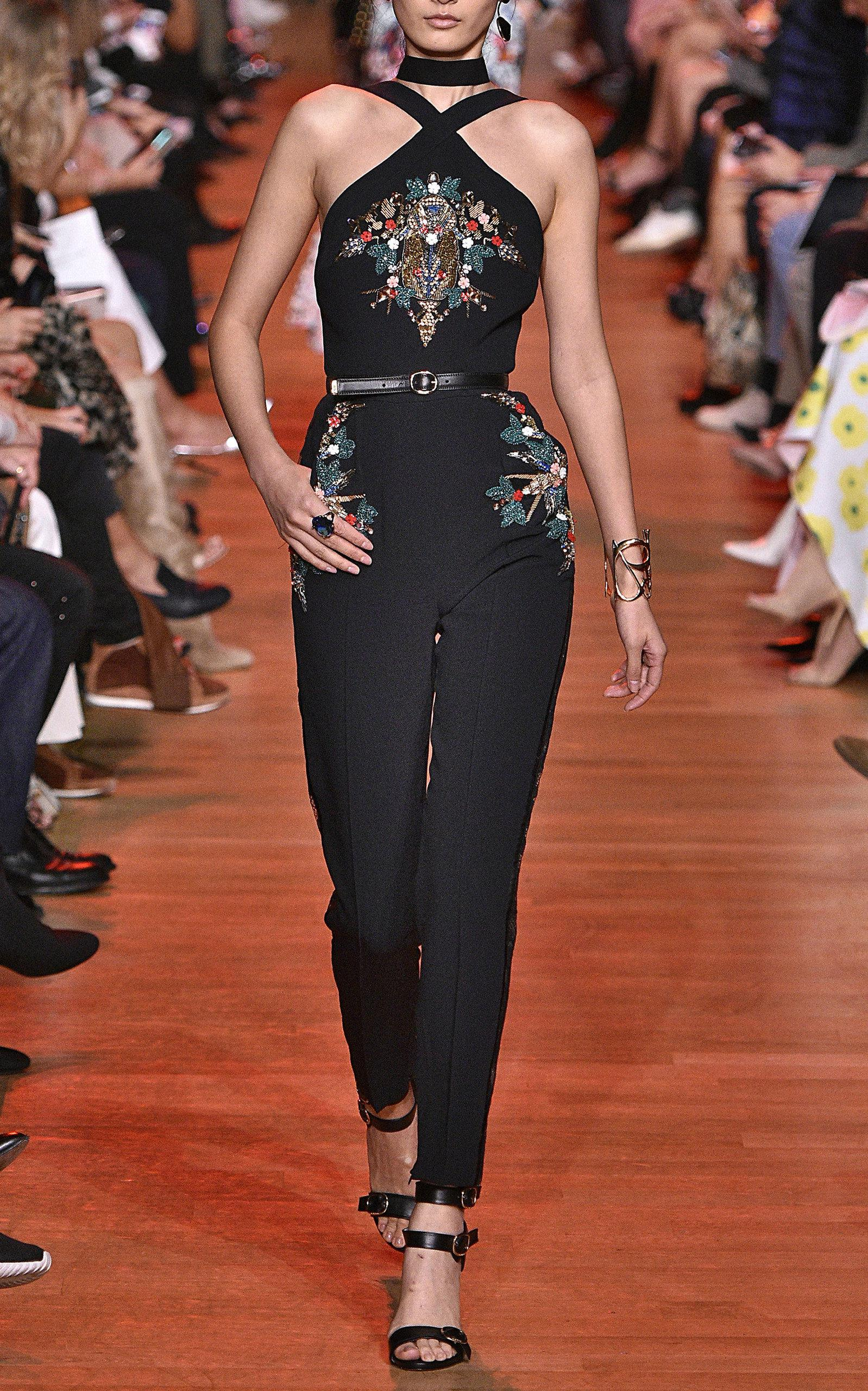9c060b5419b0 Lyst - Elie Saab Embroidered Cady Halter Jumpsuit in Black