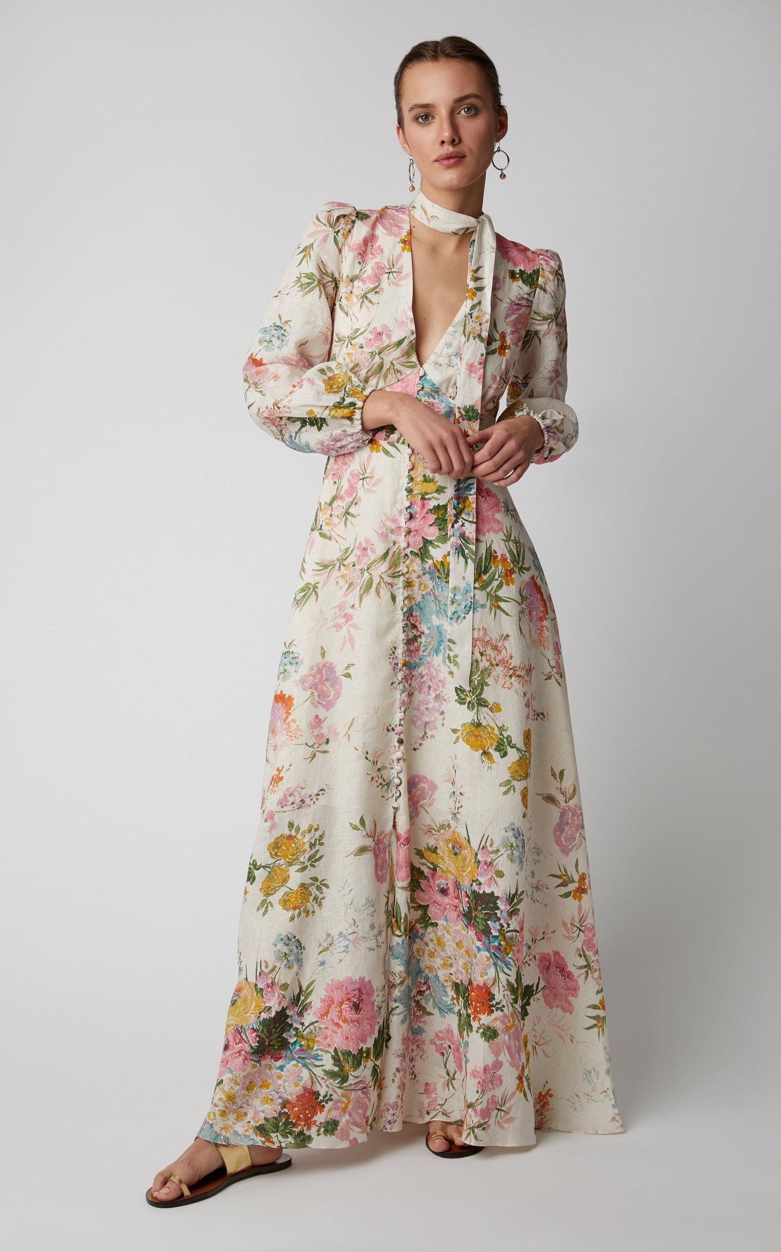 53570557d7 Zimmermann - Multicolor Heathers Floral Linen Maxi Dress - Lyst. View  fullscreen