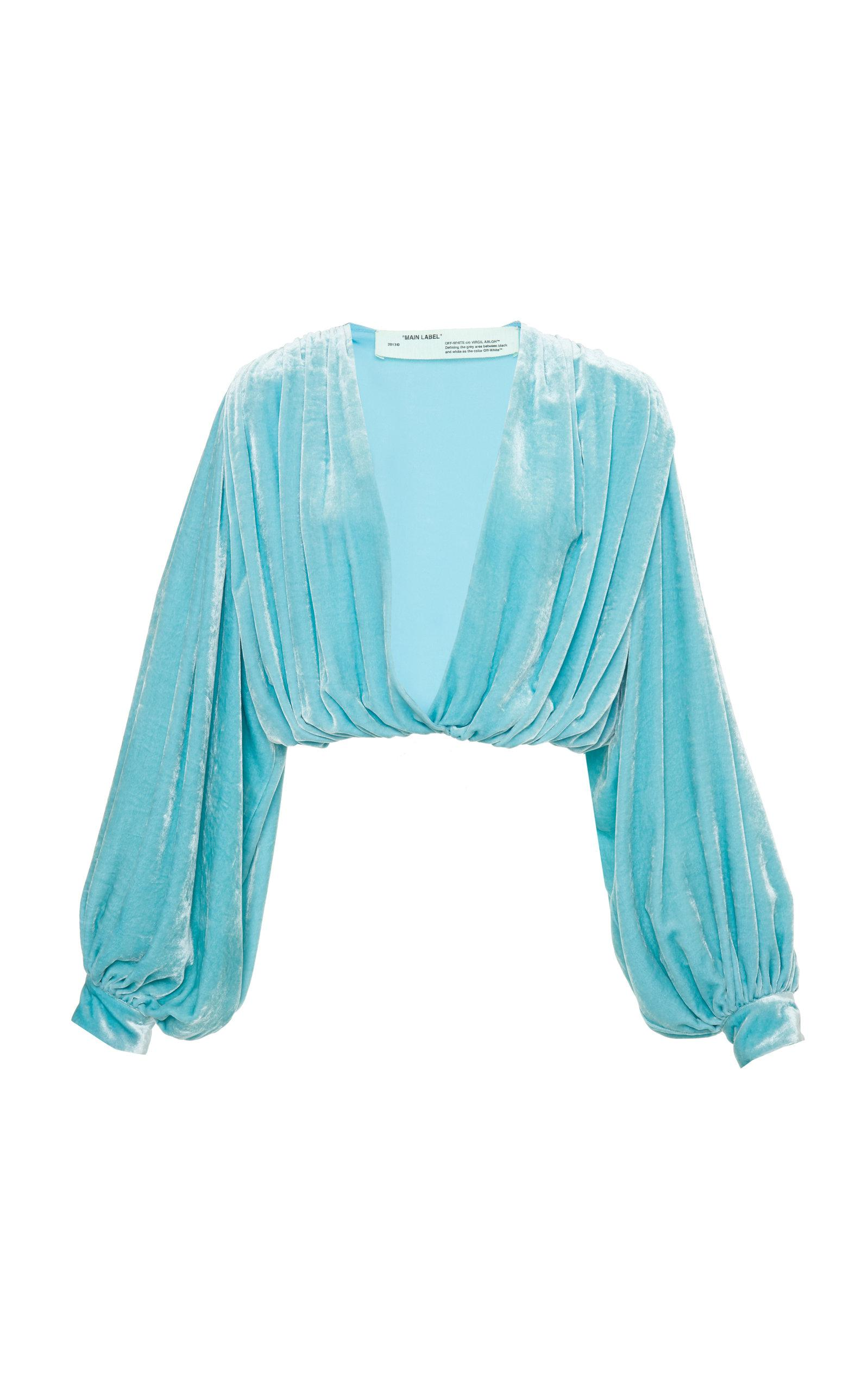 ba1f8437879d Off-White C/O Virgil Abloh V-neck Velvet 80's Shirt in Blue - Lyst