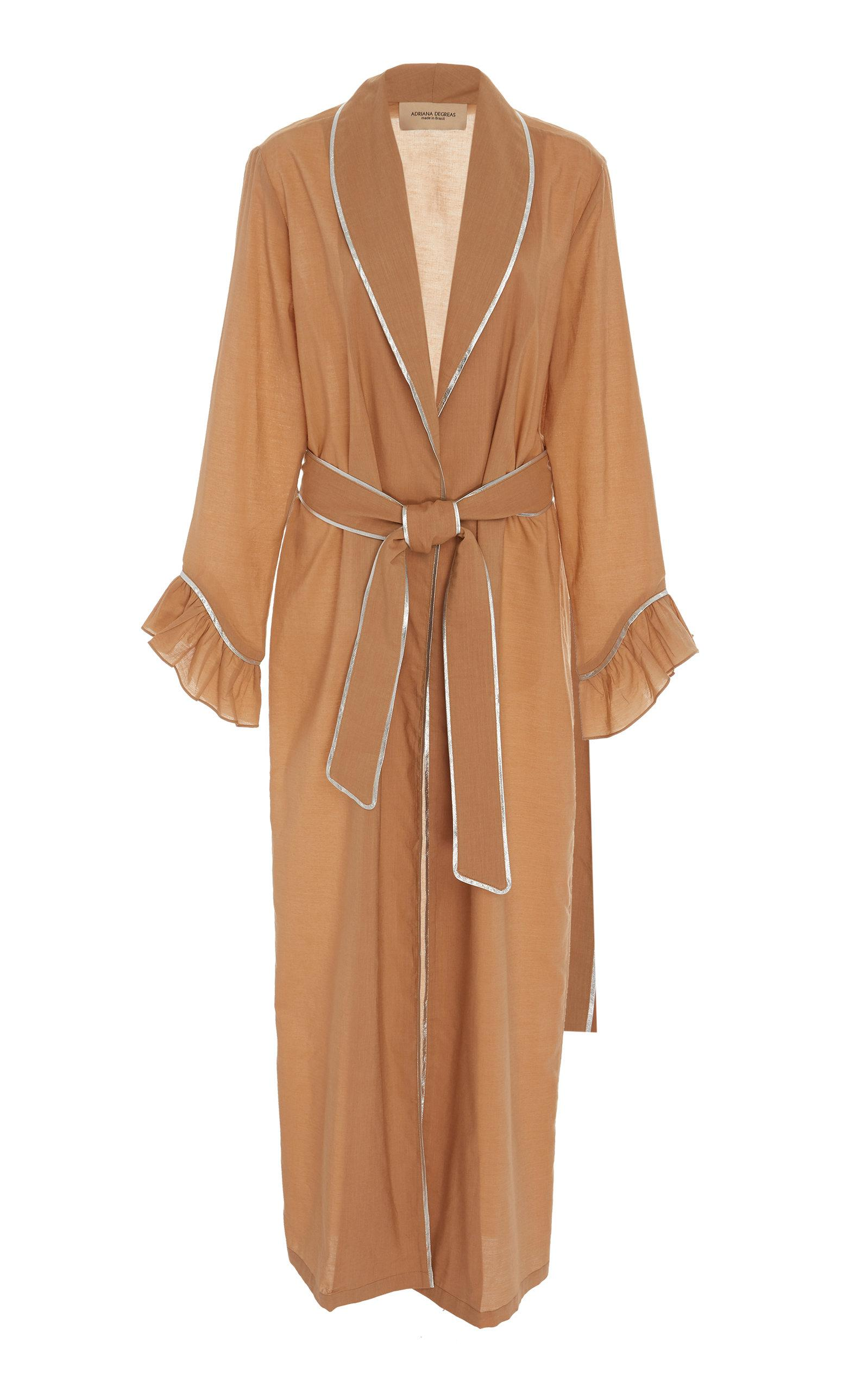 Degreas Lyst Sheer Blend Cotton Adriana Maxi Brown Robe In DEHI29