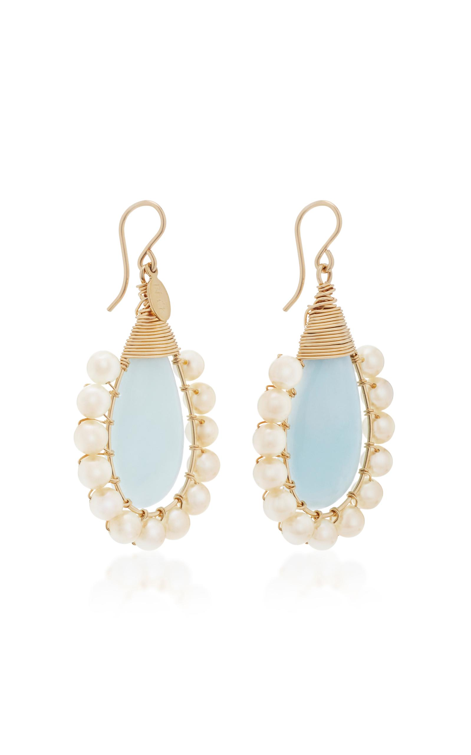 Rose Lolita Gold-Filled Rose Quartz and Pearl Earrings Beck Jewels xSKgtN