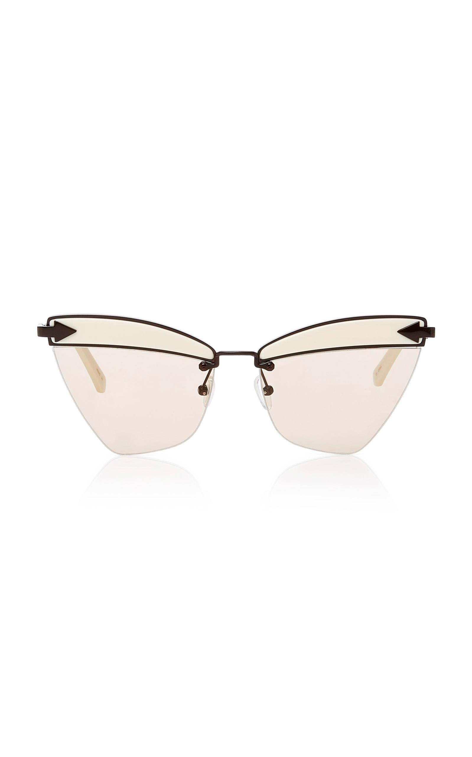 c443b13e7516 Karen Walker Sadie Cat-eye Acetate And Metal Sunglasses in White - Lyst