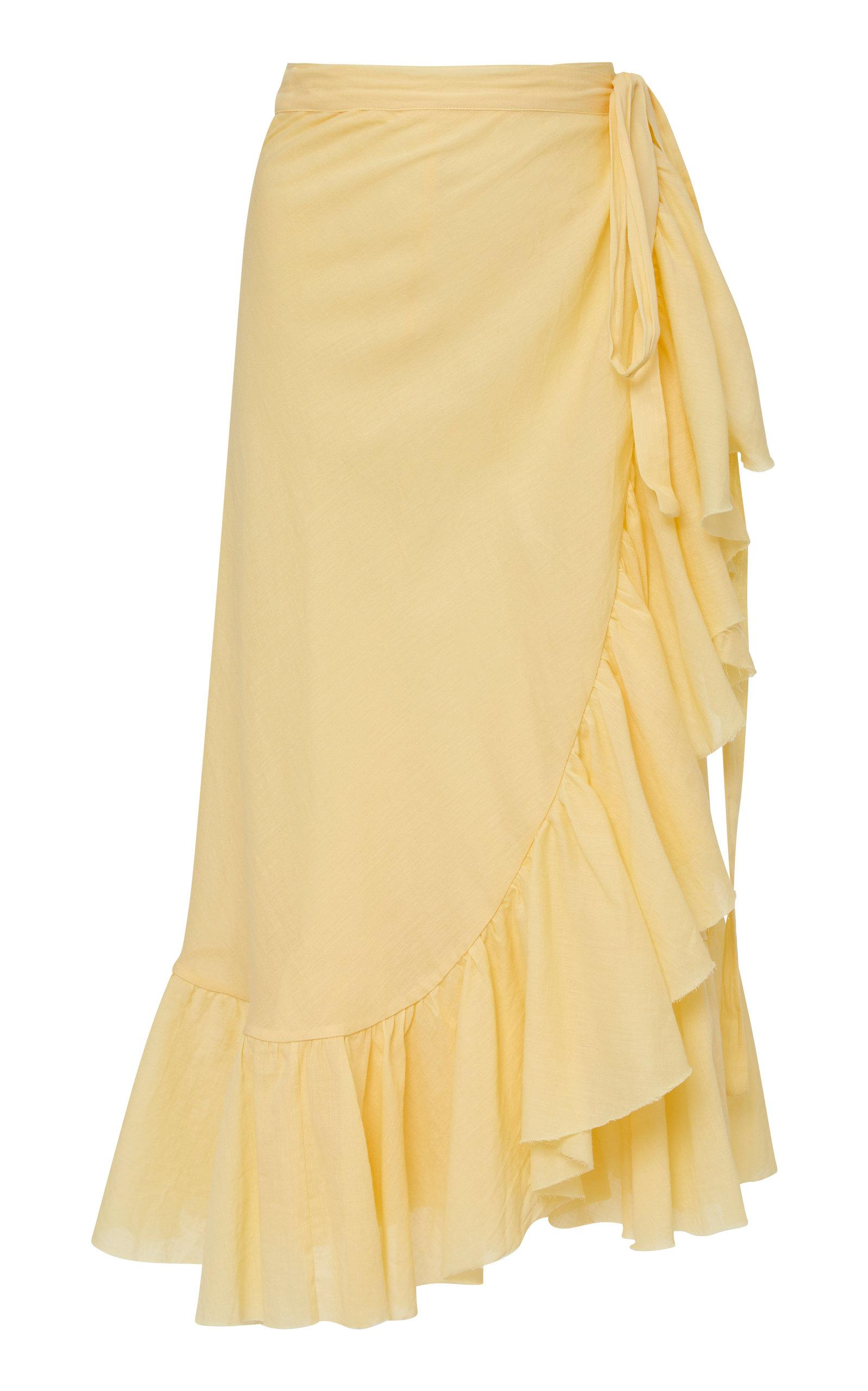 7017155f02 Lyst - Loup Charmant Ruffle Cotton Wrap Skirt in Yellow