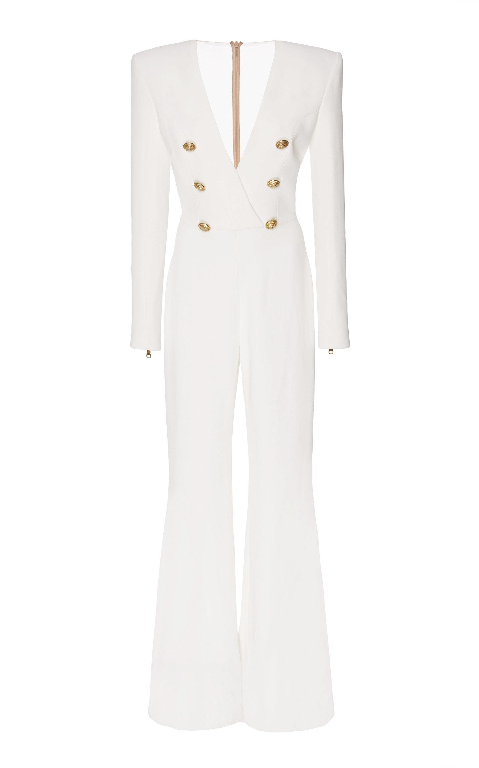 6fa9b36d7e4 Lyst - Balmain Button Front Jumpsuit in White