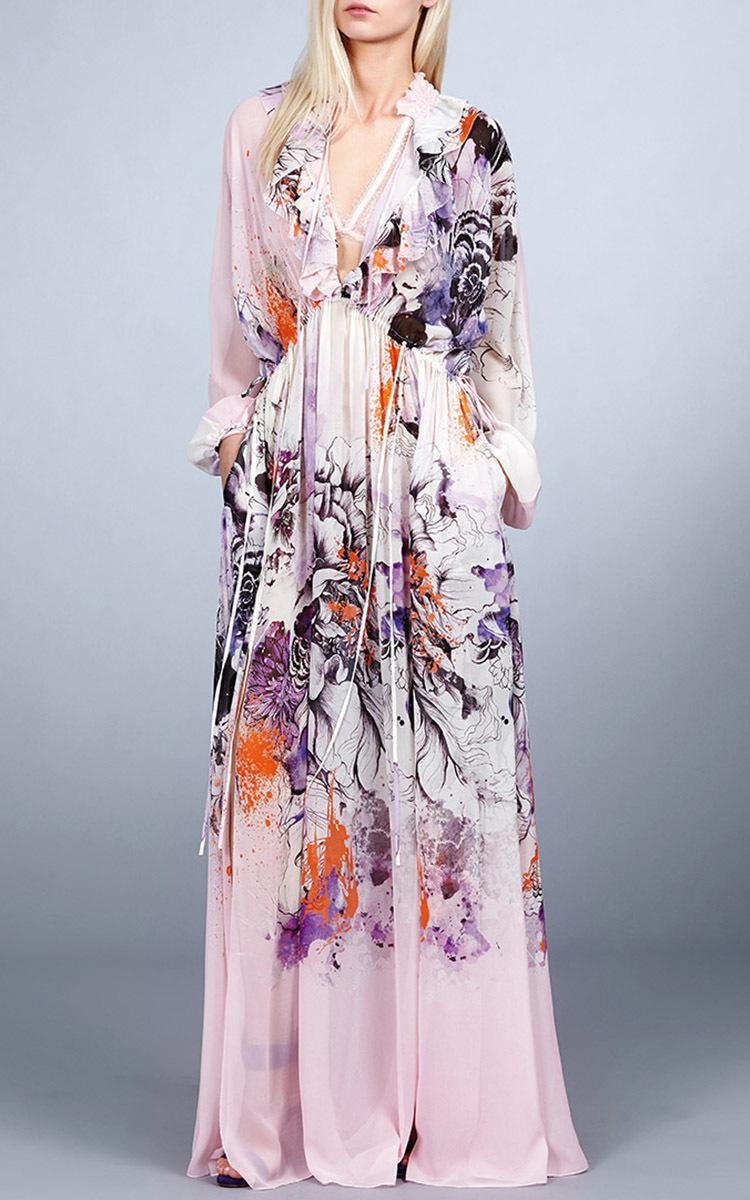 Lyst Roberto Cavalli Floral Silk Chiffon Dress